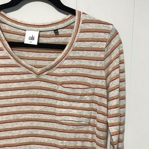 CAbi gray and brown striped long sleeve tunic